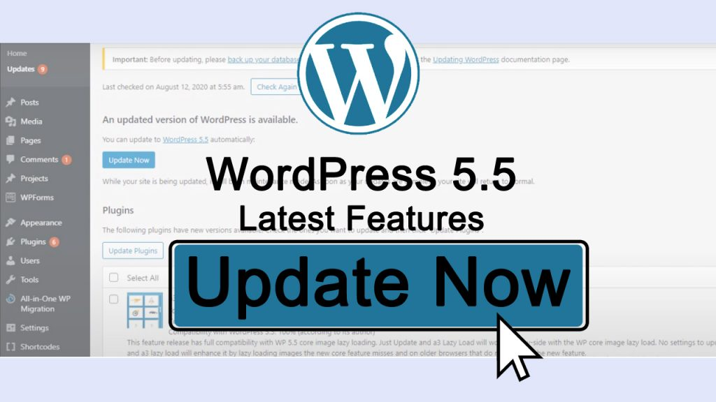 WordPress 5.5 New Features and How to update your website to the latest WordPress version
